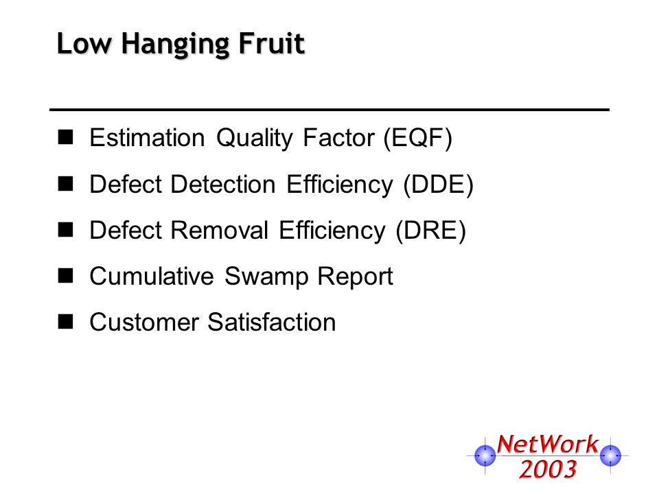Low Hanging Fruit Estimation Quality Factor (EQF) Defect Detection Efficiency (DDE) Defect Removal Efficiency (DRE) Cumulative Swamp Report Customer Satisfaction