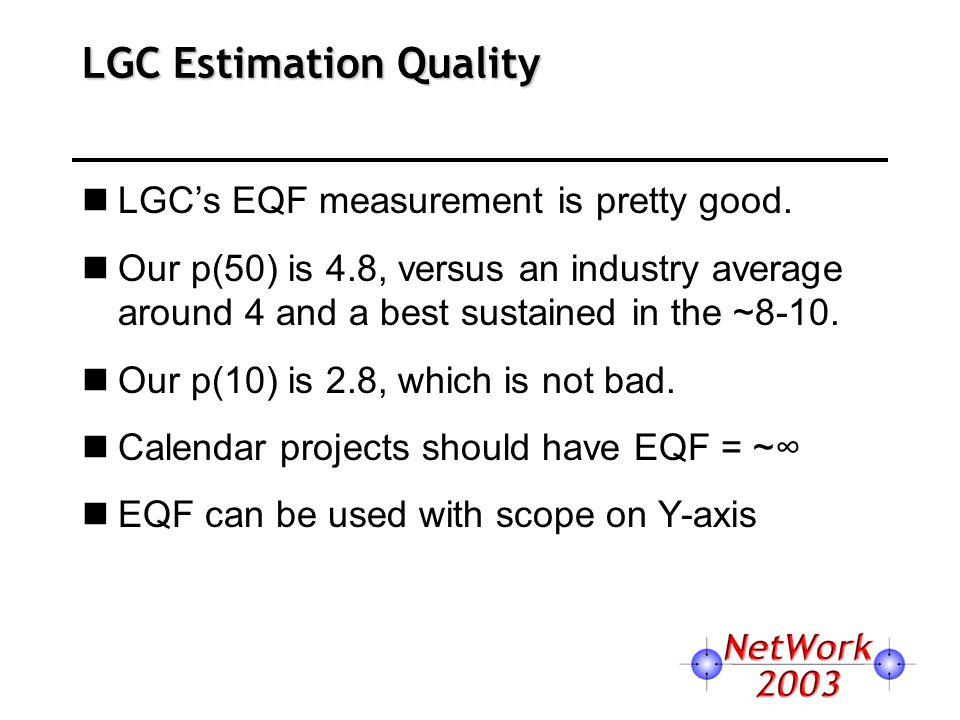 LGC Estimation Quality LGC's EQF measurement is pretty good.