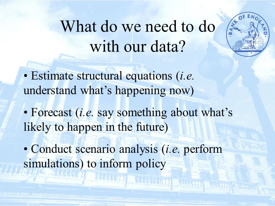 What do we need to do with our data. Estimate structural equations (i.e.