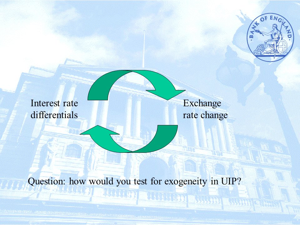 Interest rate differentials Exchange rate change Question: how would you test for exogeneity in UIP