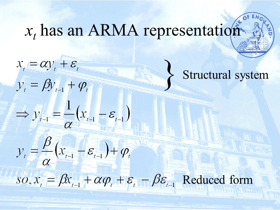 x t has an ARMA representation Structural system Reduced form }