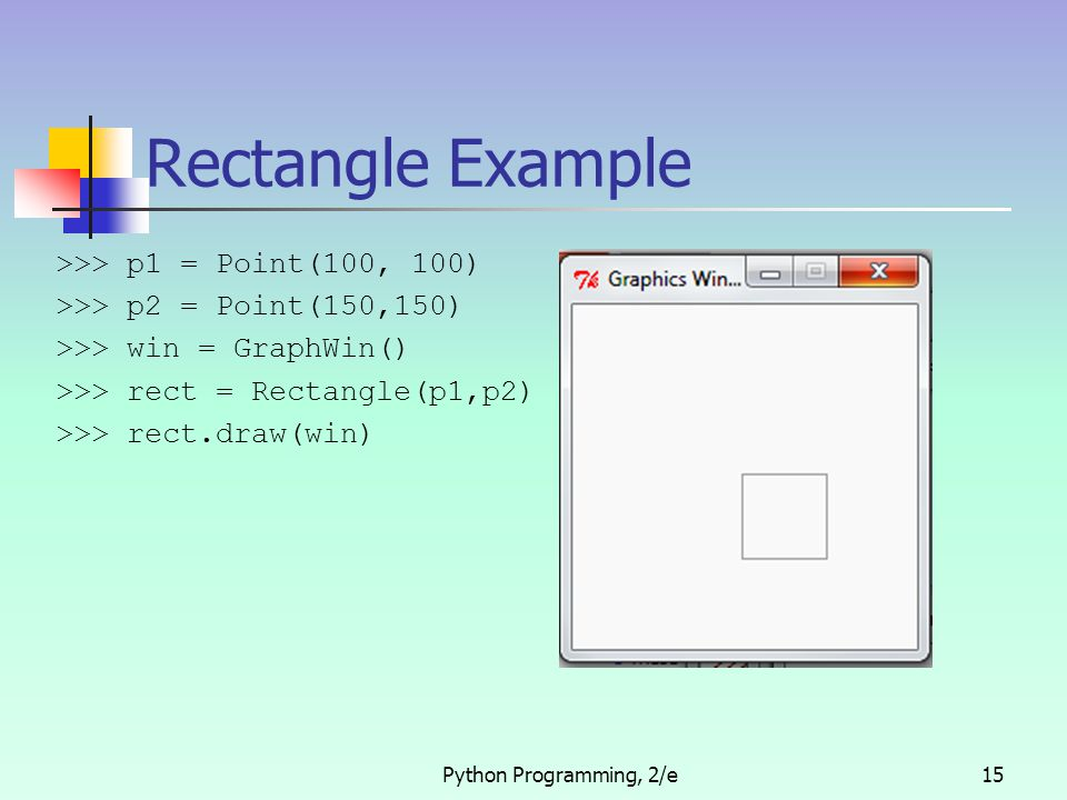Python Programming, 2/e15 Rectangle Example >>> p1 = Point(100, 100) >>> p2 = Point(150,150) >>> win = GraphWin() >>> rect = Rectangle(p1,p2) >>> rect.draw(win)