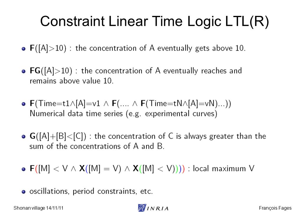 François FagesShonan village 14/11/11 Constraint Linear Time Logic LTL(R)