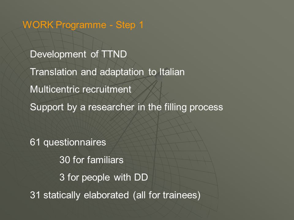 TRINNOD P1 ITALY - MULTICENTRIC 8) In your opinion, which of the following definitions applies better to the work with people with Dual Diagnosis.