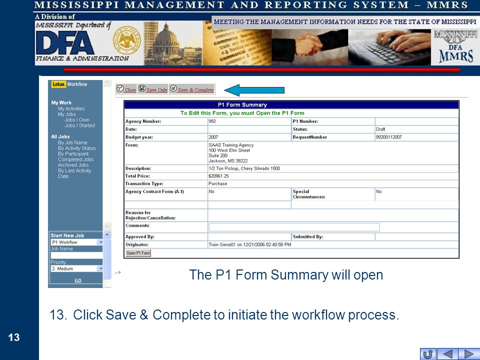 13 The P1 Form Summary will open 13.Click Save & Complete to initiate the workflow process.