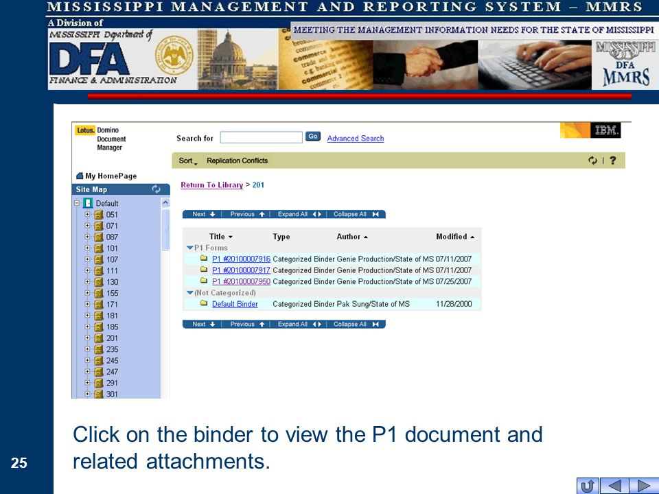 25 Click on the binder to view the P1 document and related attachments.