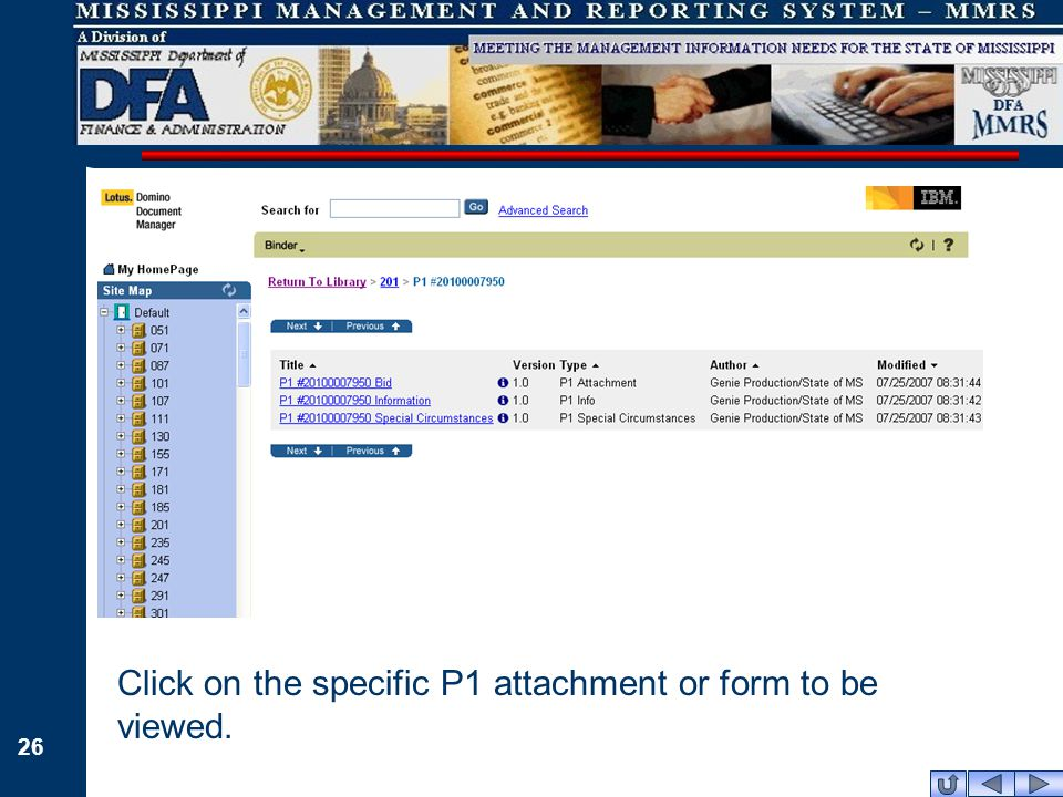 26 Click on the specific P1 attachment or form to be viewed.