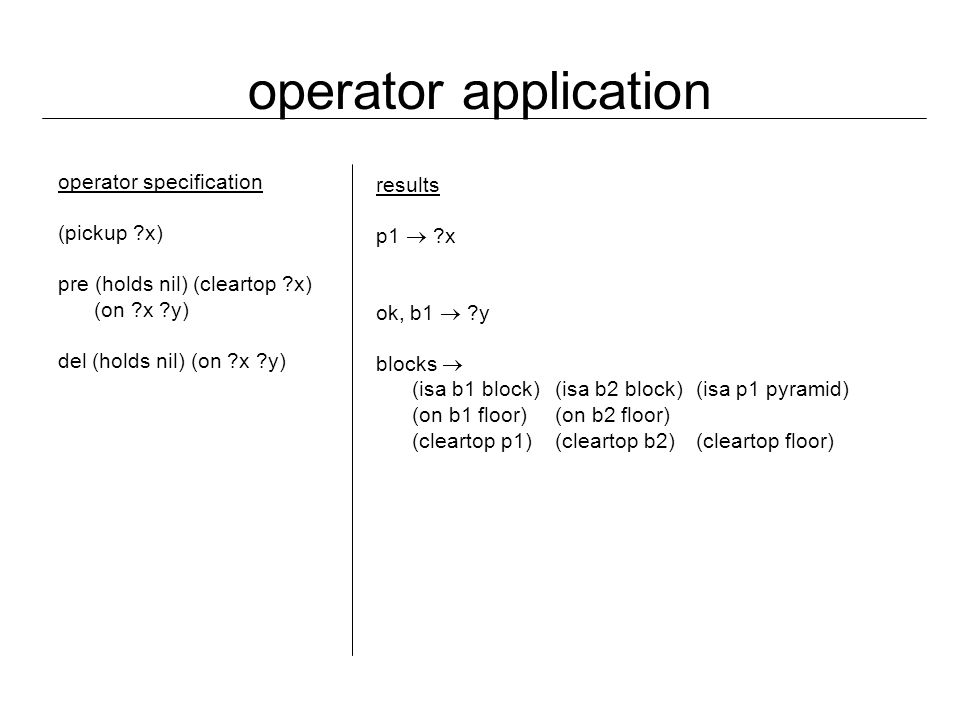 operator application operator specification (pickup x) pre (holds nil) (cleartop x) (on x y) del (holds nil) (on x y) results p1  x ok, b1  y blocks  (isa b1 block)(isa b2 block)(isa p1 pyramid) (on b1 floor) (on b2 floor) (cleartop p1) (cleartop b2)(cleartop floor)