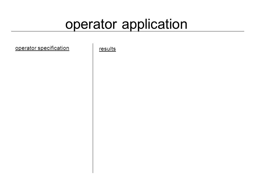 operator application operator specification results
