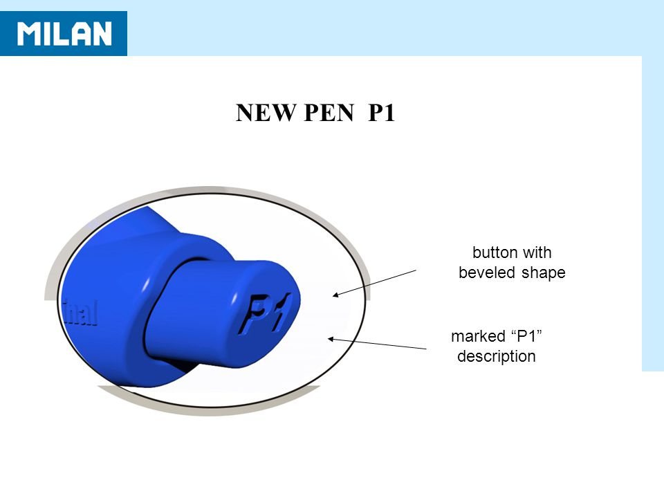 NEW PEN P1 button with beveled shape marked P1 description