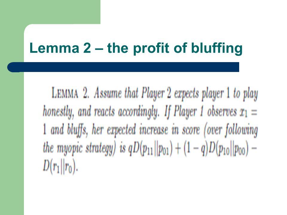Lemma 2 – the profit of bluffing