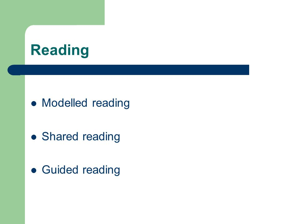 Reading Modelled reading Shared reading Guided reading