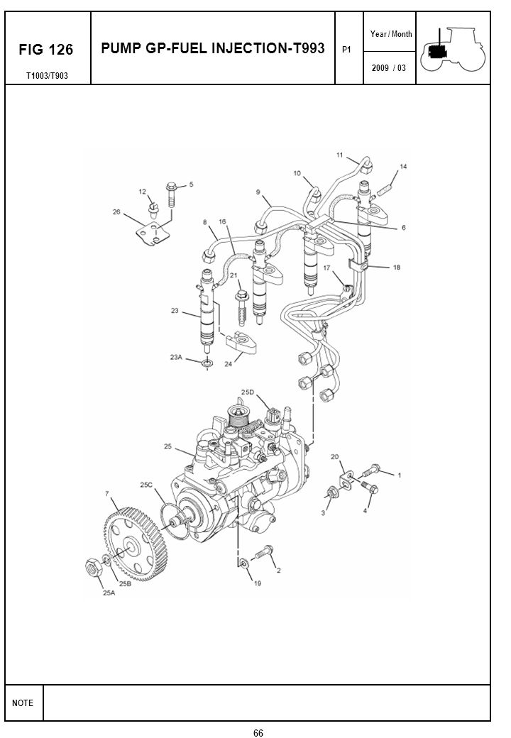 2009 / 03 NOTE Year / Month T1003/T903 FIG 126 PUMP GP-FUEL INJECTION-T993 66 P1