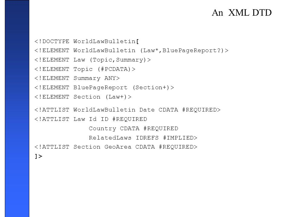 An XML DTD <!DOCTYPE WorldLawBulletin[ <!ATTLIST Law Id ID #REQUIRED Country CDATA #REQUIRED RelatedLaws IDREFS #IMPLIED> ]>