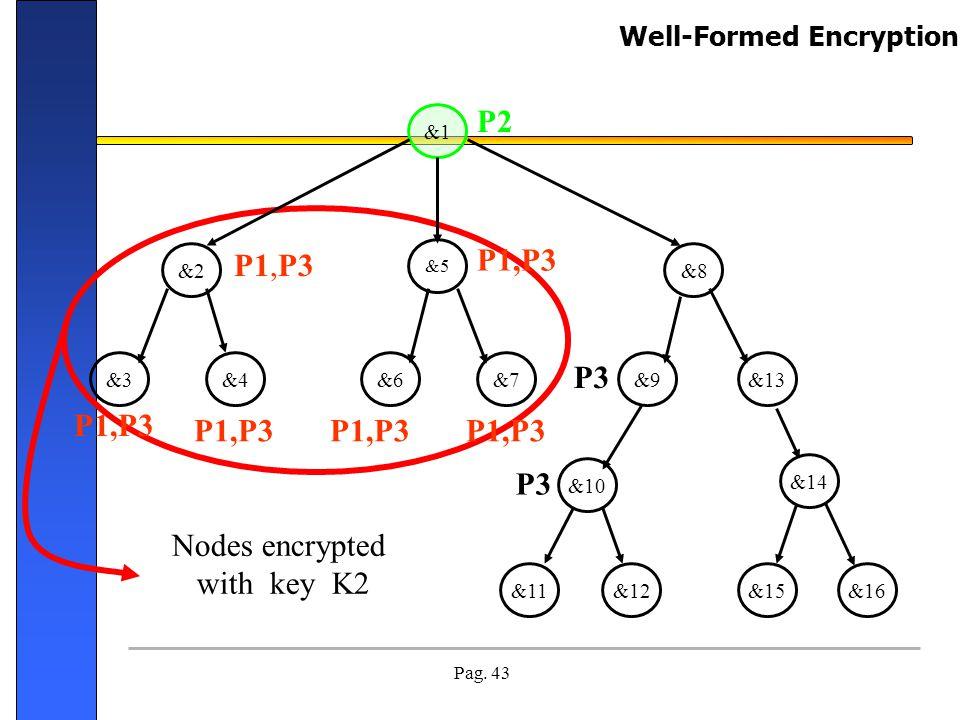 Pag. 43 Nodes encrypted with key K2 &1 &13&9&7&6&4&3 &2&8 &5 &10 &12&11 &14 &15&16 P1,P3 P2 P1,P3 P3 P1,P3 Well-Formed Encryption