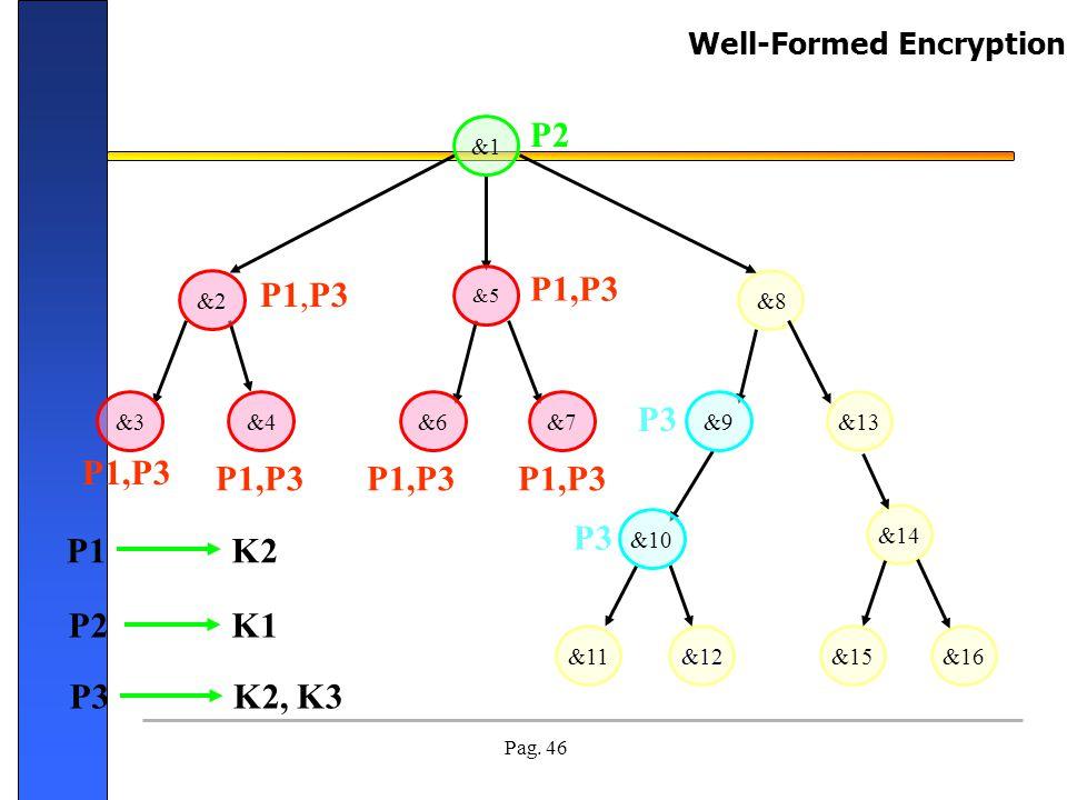 Pag. 46 &13 &8 &12&11 &14 &15&16 P1,P3 P2 P1,P3 P3 P1,P3 P1K2 P2K1 P3K2, K3 &9&7&6&4&3 &2 &5 &10 &1 Well-Formed Encryption