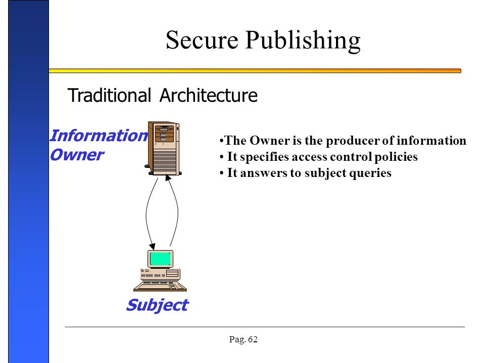 Pag. 62 Secure Publishing The Owner is the producer of information It specifies access control policies It answers to subject queries