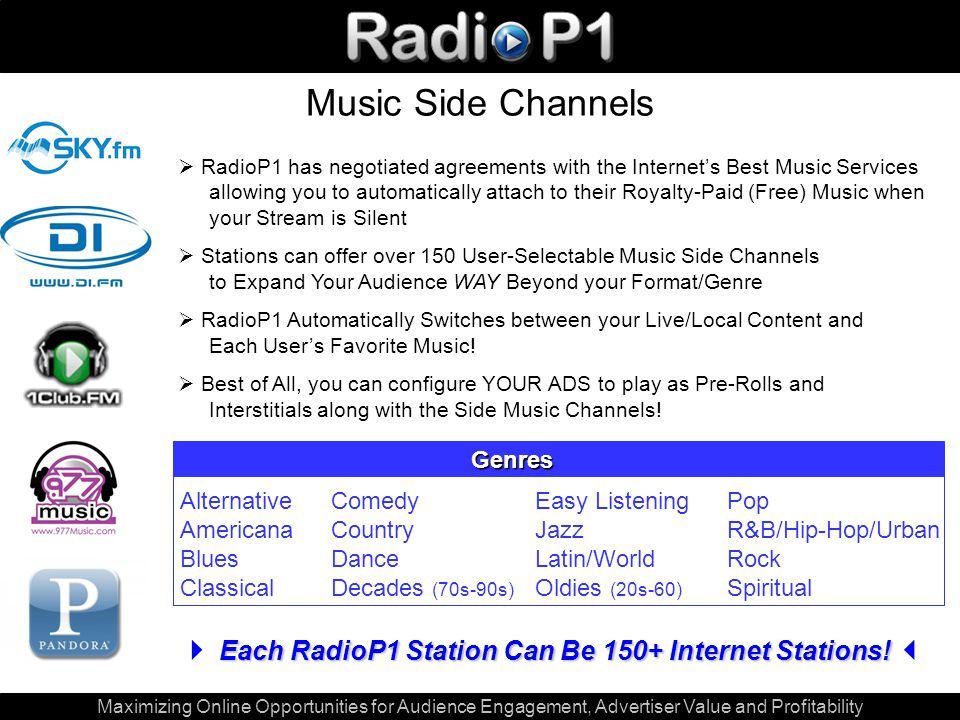 Maximizing Online Opportunities for Audience Engagement, Advertiser Value and Profitability Music Side Channels  RadioP1 has negotiated agreements with the Internet's Best Music Services allowing you to automatically attach to their Royalty-Paid (Free) Music when your Stream is Silent  Stations can offer over 150 User-Selectable Music Side Channels to Expand Your Audience WAY Beyond your Format/Genre  RadioP1 Automatically Switches between your Live/Local Content and Each User's Favorite Music.