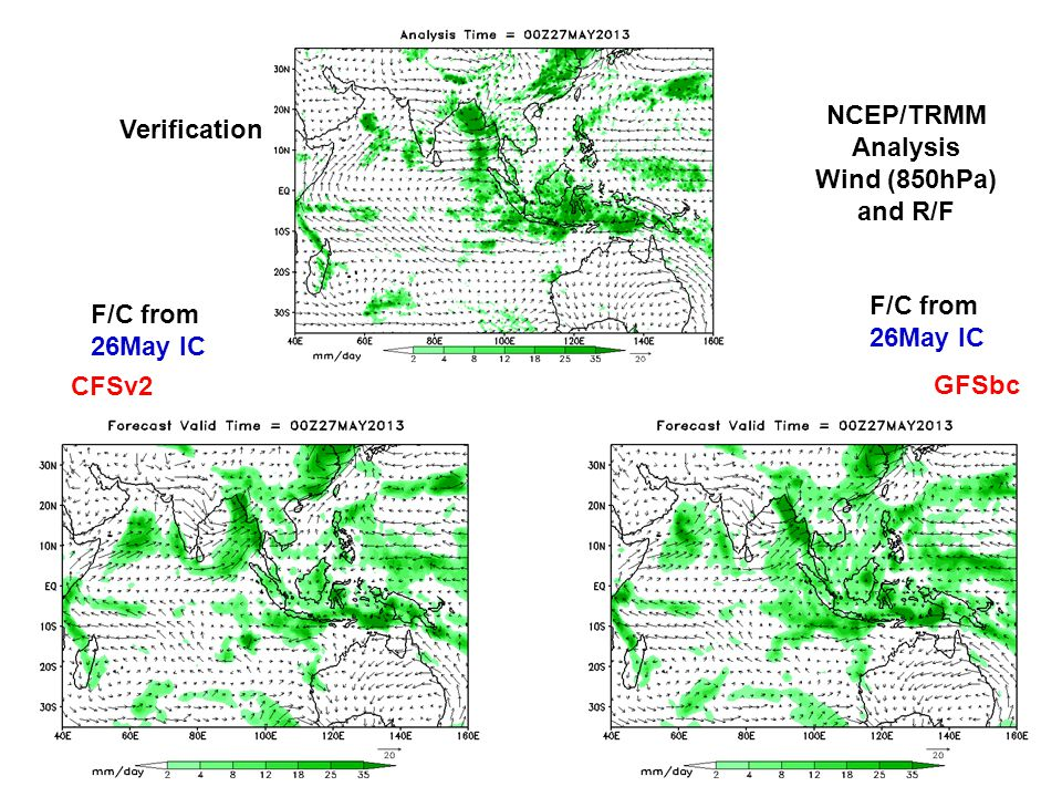 NCEP/TRMM Analysis Wind (850hPa) and R/F Verification CFSv2 GFSbc F/C from 26May IC F/C from 26May IC
