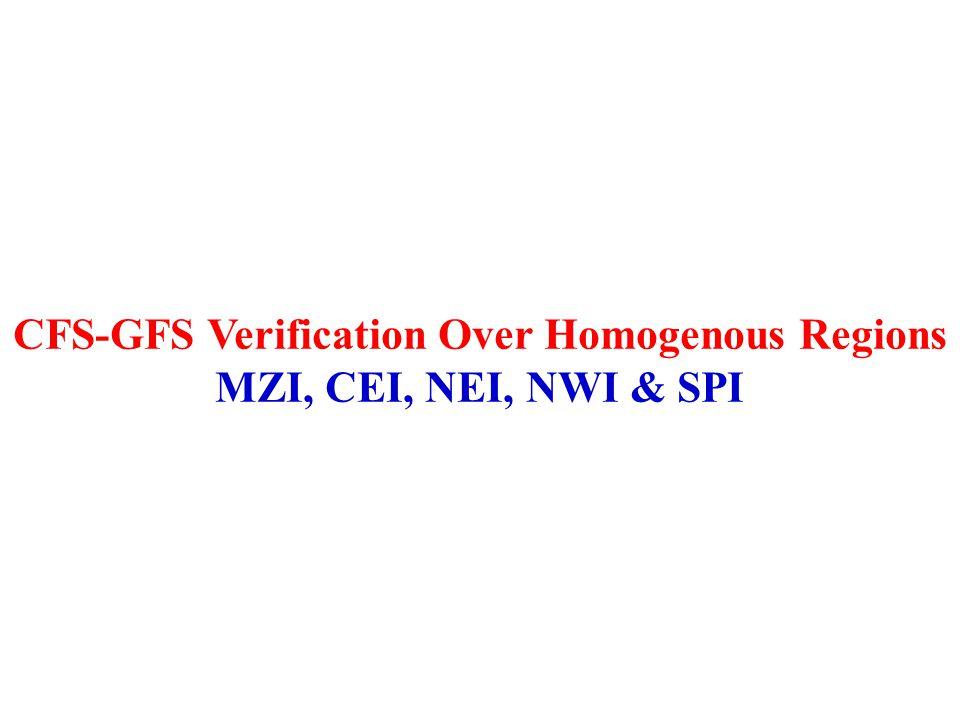 CFS-GFS Verification Over Homogenous Regions MZI, CEI, NEI, NWI & SPI