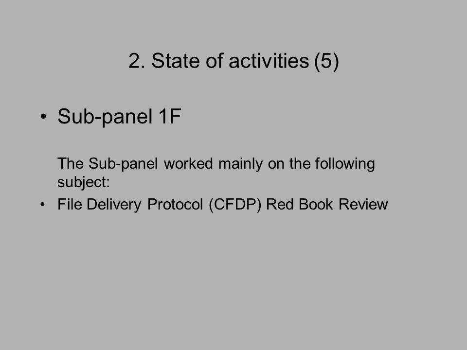2. State of activities (5) Sub-panel 1F The Sub-panel worked mainly on the following subject: File Delivery Protocol (CFDP) Red Book Review