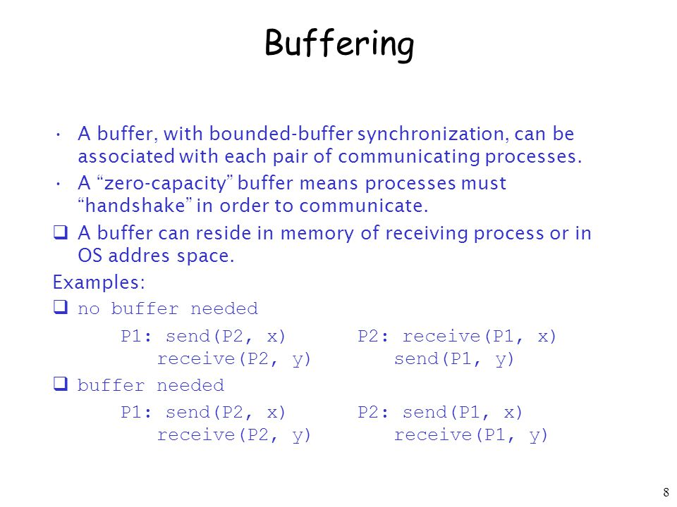 8 Buffering A buffer, with bounded-buffer synchronization, can be associated with each pair of communicating processes.