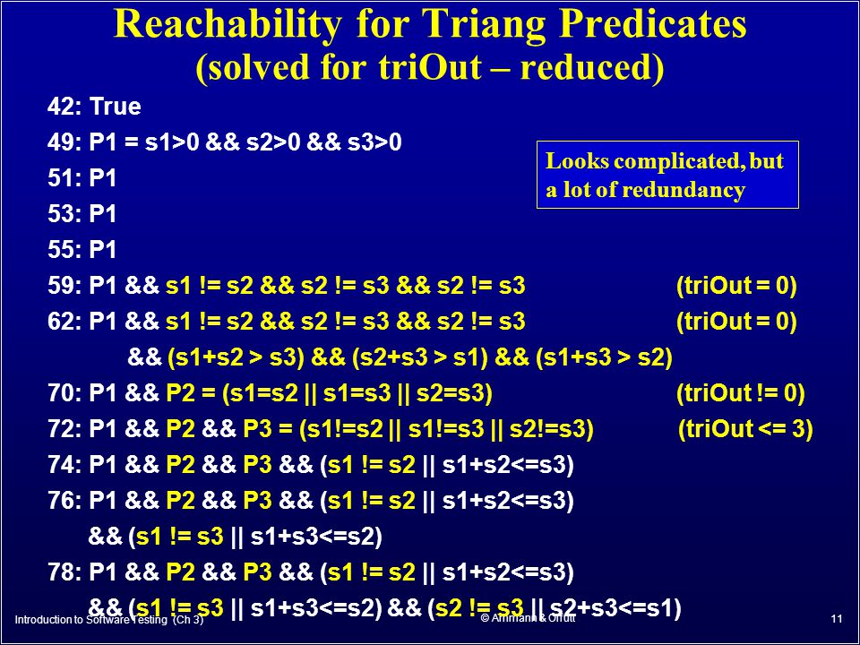 © Ammann & Offutt 11 Reachability for Triang Predicates (solved for triOut – reduced) 42: True 49: P1 = s1>0 && s2>0 && s3>0 51: P1 53: P1 55: P1 59: