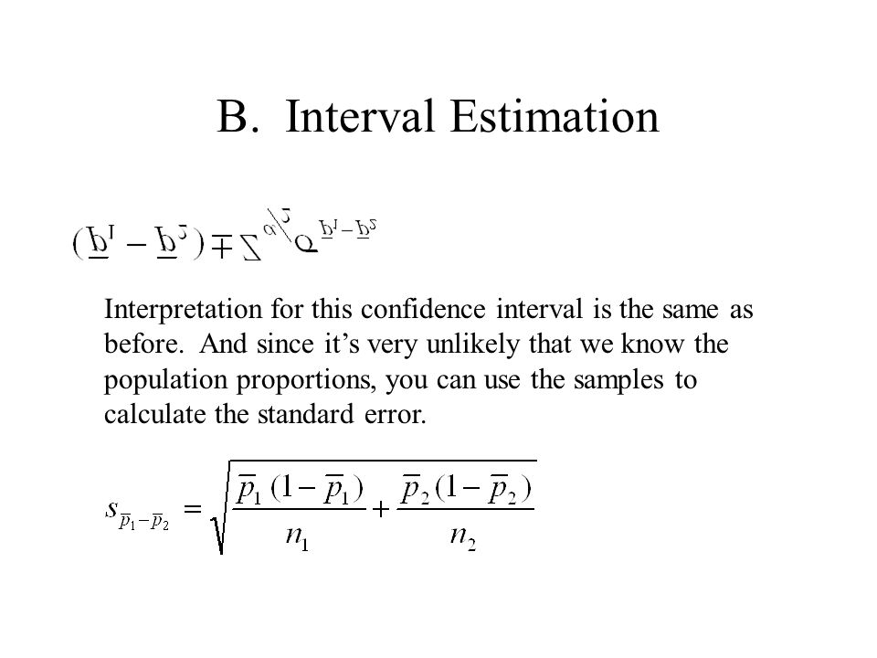 B. Interval Estimation Interpretation for this confidence interval is the same as before.