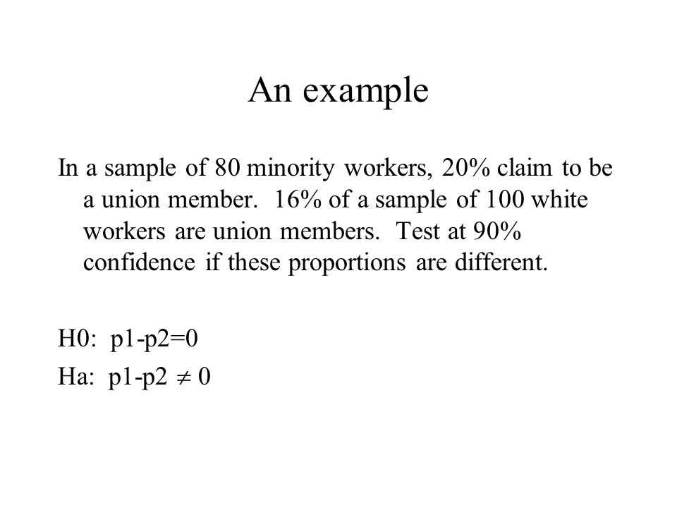 An example In a sample of 80 minority workers, 20% claim to be a union member.
