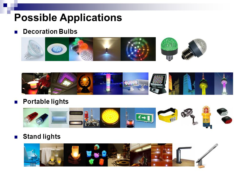Possible Applications Decoration Bulbs Portable lights Stand lights