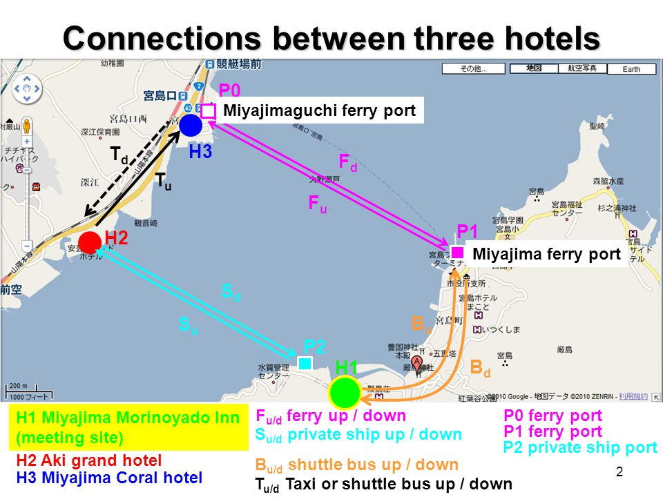 Connections between three hotels H1 Miyajima Morinoyado Inn (meeting site) H2 H3 P1 P2 TuTu TdTd BdBd BuBu SuSu SdSd FuFu FdFd H2 Aki grand hotel H3 Miyajima Coral hotel S u/d private ship up / down F u/d ferry up / down B u/d shuttle bus up / down T u/d Taxi or shuttle bus up / down P0 ferry port P2 private ship port P0 P1 ferry port Miyajimaguchi ferry port Miyajima ferry port H1 2