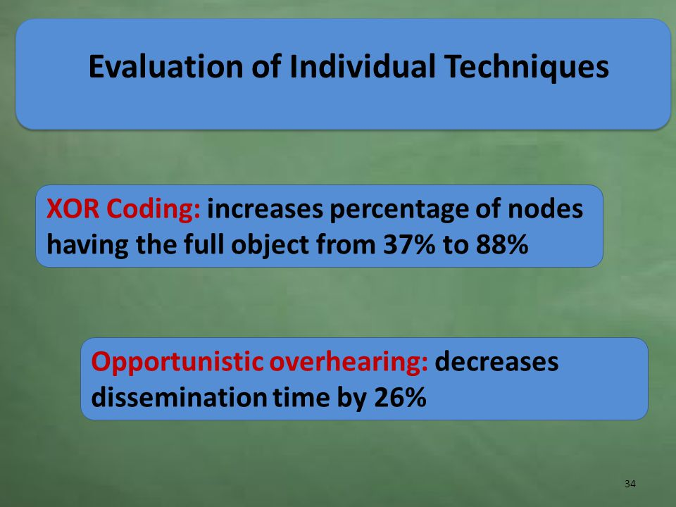 Evaluation of Individual Techniques 34 XOR Coding: increases percentage of nodes having the full object from 37% to 88% Opportunistic overhearing: decreases dissemination time by 26%