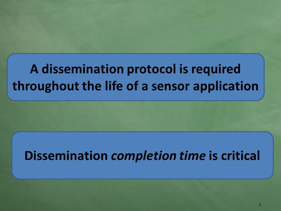 A dissemination protocol is required throughout the life of a sensor application 5 Dissemination completion time is critical