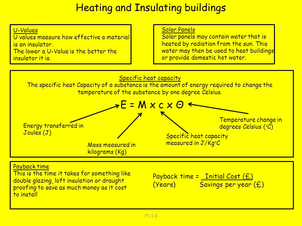 P1.1.4 Heating and Insulating buildings U-Values U values measure how effective a material is an insulator. The lower a U-Value is the better the insu