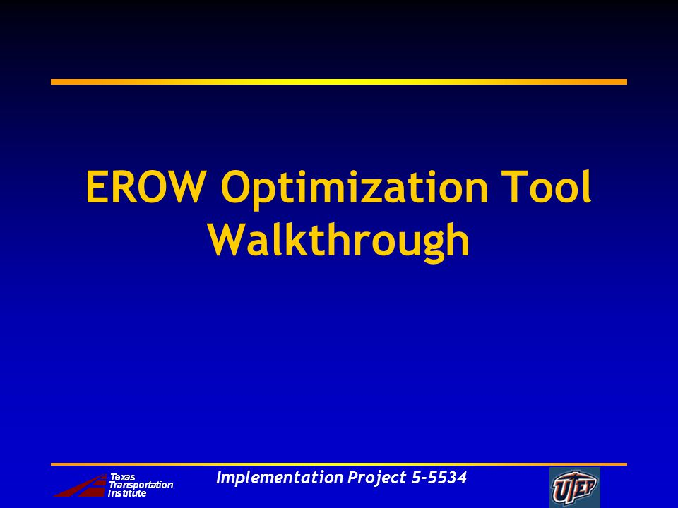 Implementation Project EROW Optimization Tool Walkthrough