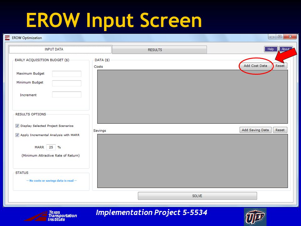 Implementation Project 5-5534 EROW Input Screen