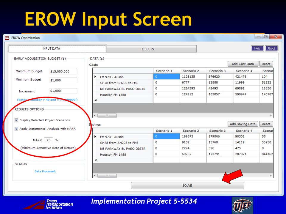 Implementation Project EROW Input Screen