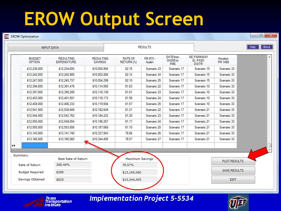 Implementation Project EROW Output Screen