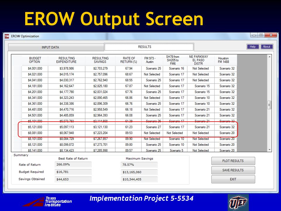 Implementation Project 5-5534 EROW Output Screen
