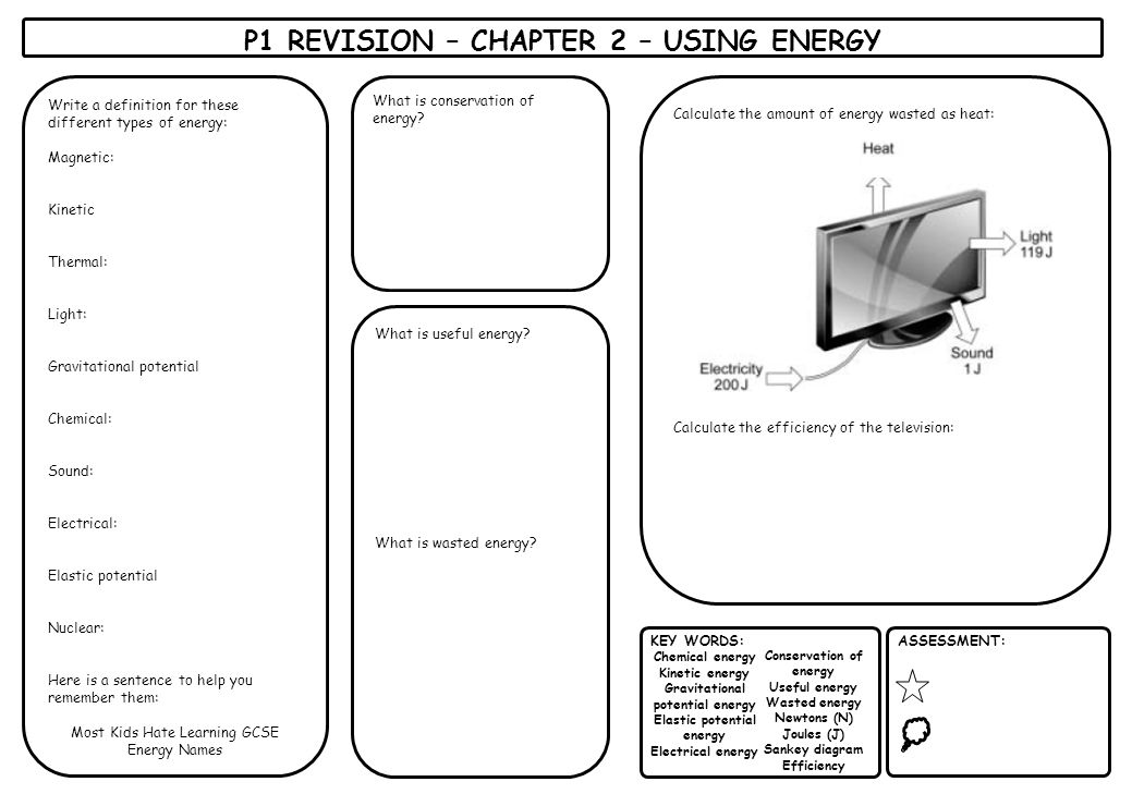 P1 REVISION – CHAPTER 2 – USING ENERGY KEY WORDS: Chemical energy Kinetic energy Gravitational potential energy Elastic potential energy Electrical en