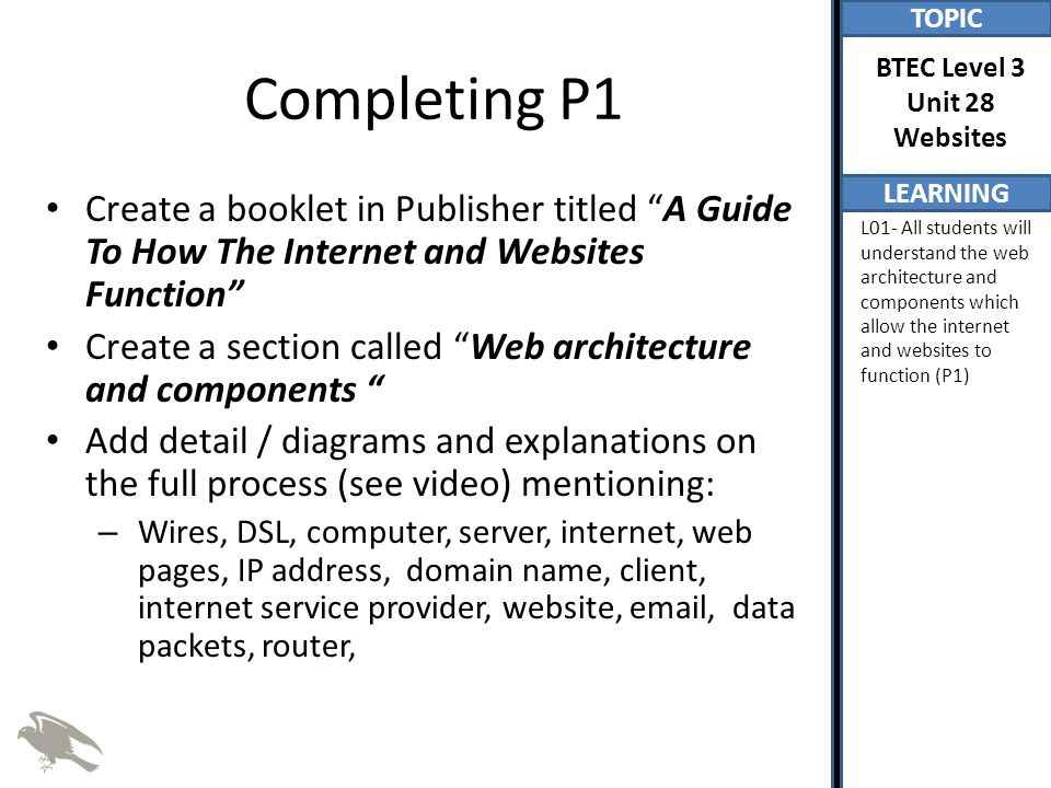 TOPIC LEARNING BTEC Level 3 Unit 28 Websites L01- All students will understand the web architecture and components which allow the internet and websites to function (P1) Completing P1 Create a booklet in Publisher titled A Guide To How The Internet and Websites Function Create a section called Web architecture and components Add detail / diagrams and explanations on the full process (see video) mentioning: – Wires, DSL, computer, server, internet, web pages, IP address, domain name, client, internet service provider, website, email, data packets, router,