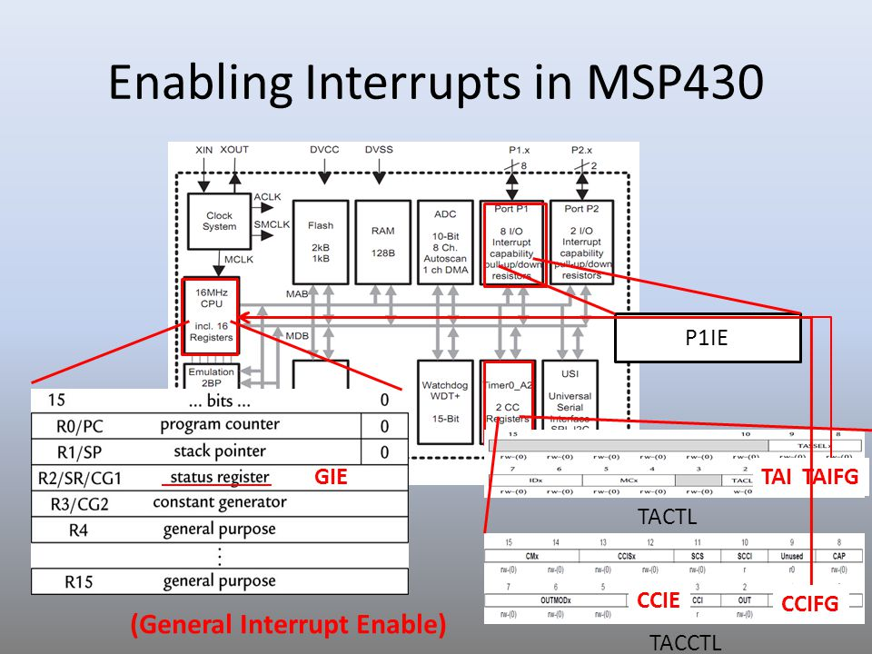 Enabling Interrupts in MSP430 GIE TACTL TACCTL TAIE CCIE P1IE TAIFG CCIFG (General Interrupt Enable)
