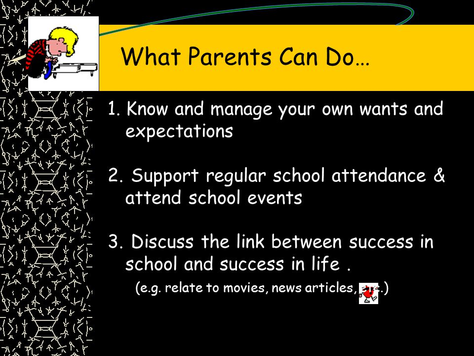 What Parents Can Do… 1.Know and manage your own wants and expectations 2.