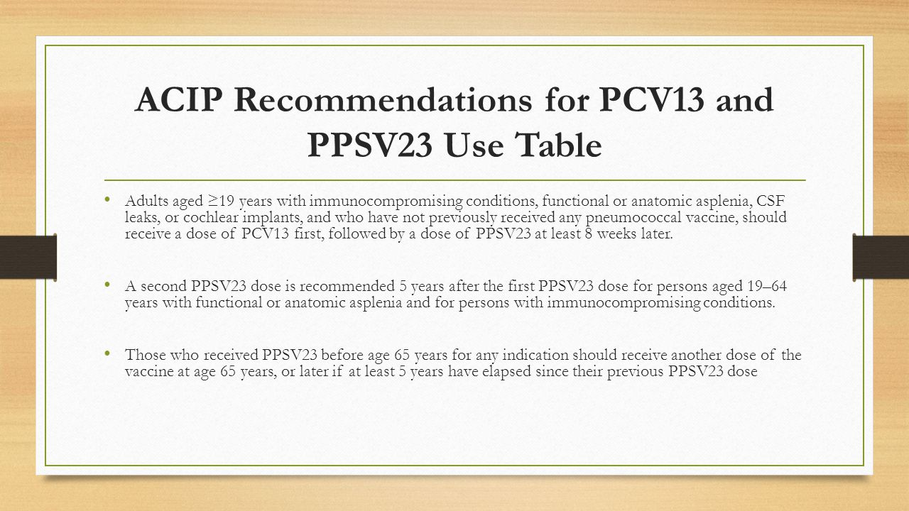 ACIP Recommendations for PCV13 and PPSV23 Use Table Adults aged ≥19 years with immunocompromising conditions, functional or anatomic asplenia, CSF lea