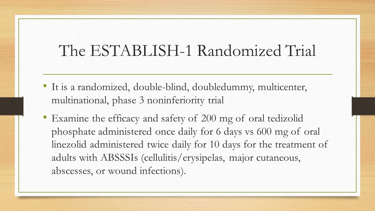 The ESTABLISH-1 Randomized Trial It is a randomized, double-blind, doubledummy, multicenter, multinational, phase 3 noninferiority trial Examine the e