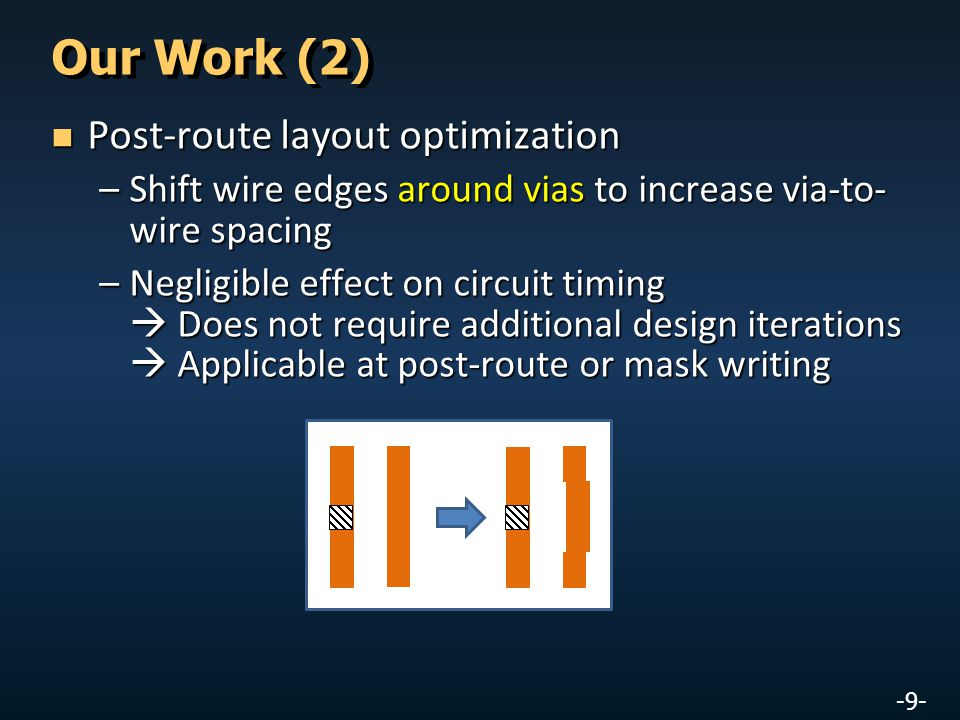 -9- Our Work (2) Post-route layout optimization Post-route layout optimization –Shift wire edges around vias to increase via-to- wire spacing –Negligible effect on circuit timing  Does not require additional design iterations  Applicable at post-route or mask writing