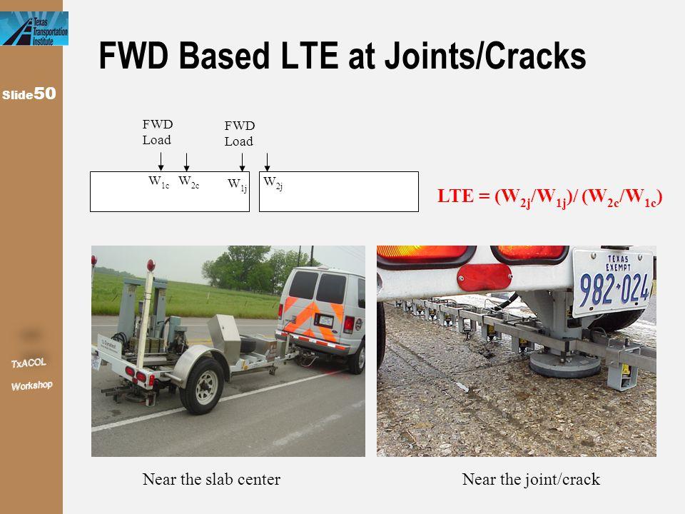 Slide 50 FWD Based LTE at Joints/Cracks FWD Load W 1j W 2j LTE = (W 2j /W 1j )/ (W 2c /W 1c ) W 1c W 2c FWD Load Near the slab centerNear the joint/cr