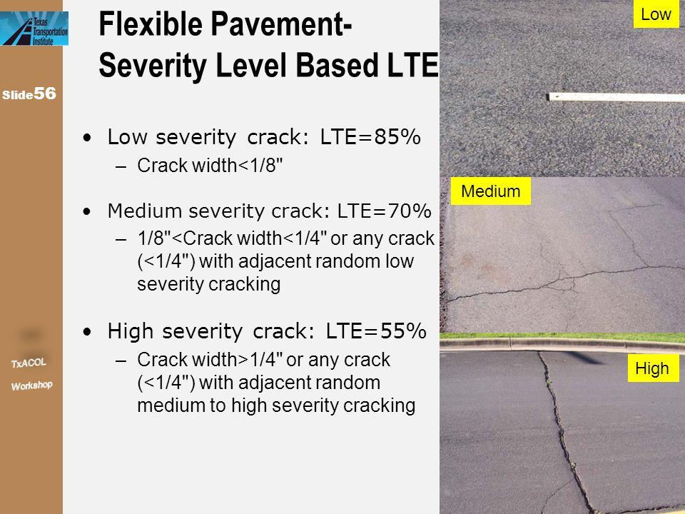 Flexible Pavement- Severity Level Based LTE Low severity crack: LTE=85% –Crack width<1/8