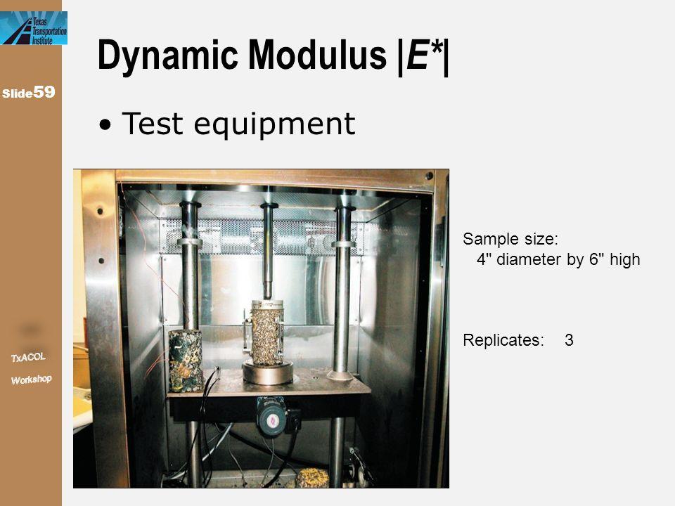Slide 59 Dynamic Modulus   E*   Test equipment Sample size: 4