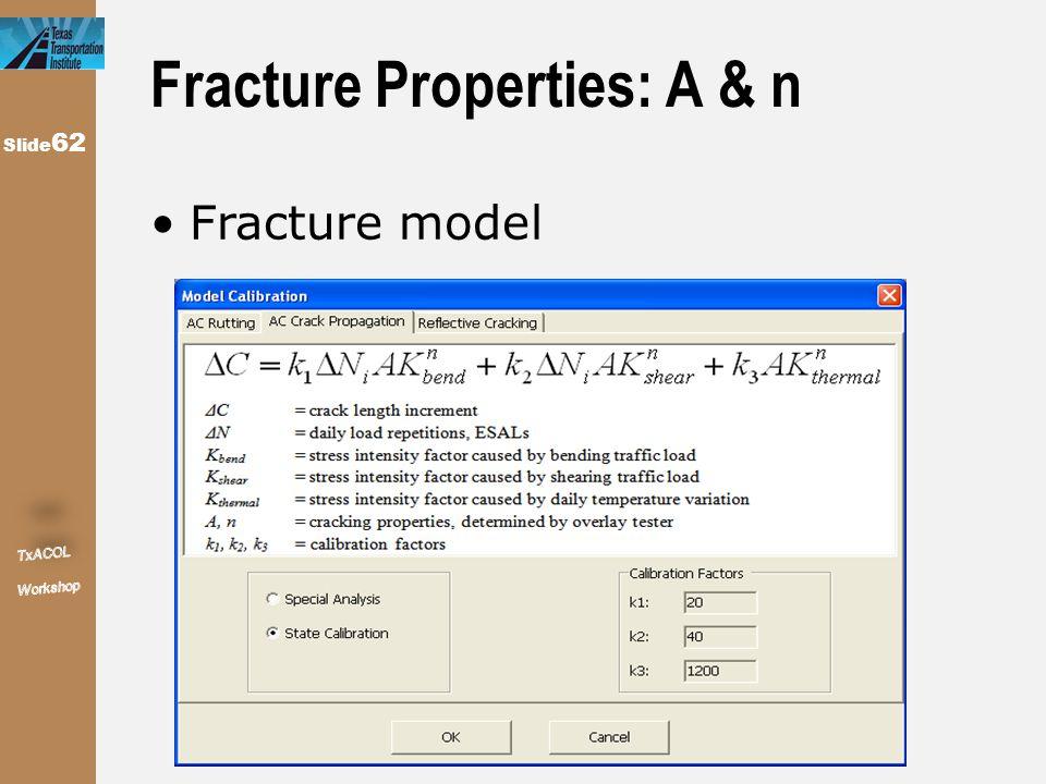 Slide 62 Fracture Properties: A & n Fracture model